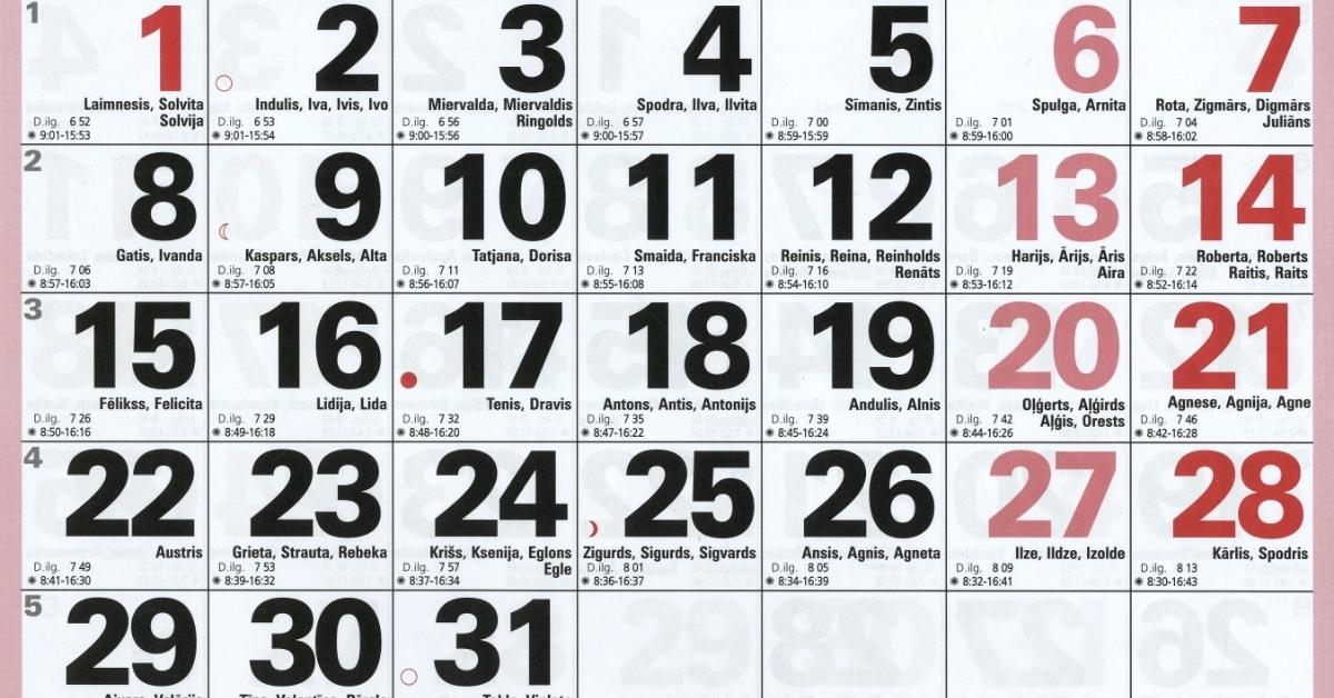 Šogad Latvijā pārcels vienu darba dienu, būs arī viena jauna brīvdiena