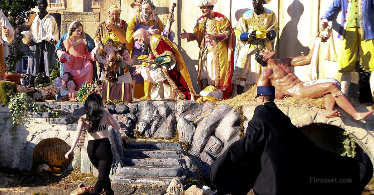 Puskaila FEMEN aktīviste Vatikānā no silītes centusies nozagt Jēzu